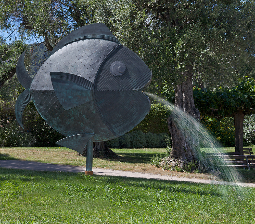 Sculpture Bronze Poisson Fontaine