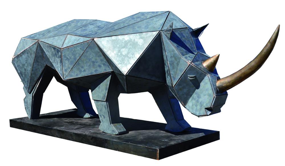 Sculpture Bronze Rhinoceros Petit
